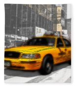 Yellow Cab At The Times Square -comic Fleece Blanket