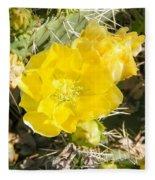Yellow Cactus Blooms And Buds Fleece Blanket