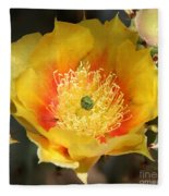 Yellow Cactus Flower Square Fleece Blanket