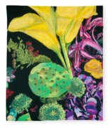 Yellow Cala Lilies Fleece Blanket