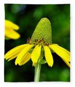 Yellow Cone Flower Fleece Blanket