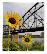 Yellow Cone Flowers And Bridge Fleece Blanket