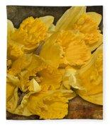 Yellow Daffodils And Texture Fleece Blanket