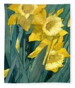 Watercolor Painting Of Blooming Yellow Daffodils Fleece Blanket