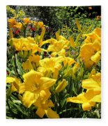 Yellow Daylilies Fleece Blanket
