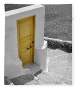 Yellow Door Of Oia Fleece Blanket