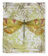 Yellow Dragonfly On Vintage Tin Fleece Blanket