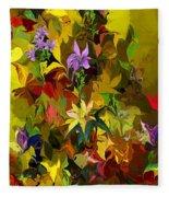 Yellow Fantasy Flower Garden Fleece Blanket