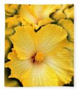 Yellow Fantasy Hibiscus Flowers Fleece Blanket