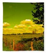 Yellow Fencerow Fleece Blanket