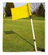 Yellow Flag On The Green Fleece Blanket