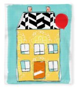 Yellow Flower House Fleece Blanket
