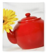 Yellow Flower In A Red Teapot Fleece Blanket