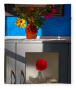 Yellow Flower In A Vase Of Clay. Fleece Blanket
