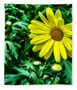 Yellow Flower Of Spring Fleece Blanket