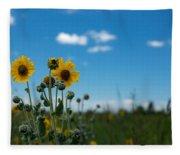 Yellow Flower On Blue Sky Fleece Blanket