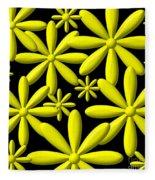 Yellow Flower Power 3d Digital Art Fleece Blanket