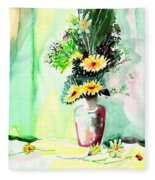 Yellow Flowers 1 Fleece Blanket