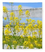 Yellow Flowers And A White Fence Fleece Blanket