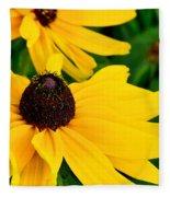 Yellow Flowers Fleece Blanket