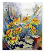 Yellow Flowers Fleece Blanket