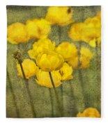Yellow Flowers With Texture Fleece Blanket