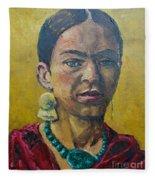 Yellow Frida Fleece Blanket