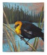 Yellow Headed Black Bird Fleece Blanket