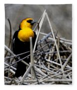 Yellow-headed Blackbird Fleece Blanket