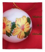 Yellow Hibiscus Christmas Bulb Fleece Blanket