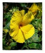 Yellow Hibiscus Hawaii State Flower Fleece Blanket
