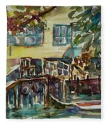 Yellow House By The River Fleece Blanket