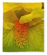 Yellow Iris Beard Fleece Blanket