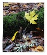 Yellow Leaf Fleece Blanket