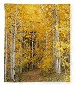 Yellow Leaf Road Fleece Blanket