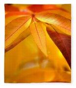 Yellow Leaves At Dawn Fleece Blanket