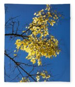 Yellow Leaves In Fall And Deep Blue Sky Fleece Blanket