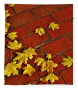 Yellow Leaves On Red Brick Fleece Blanket