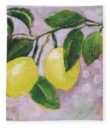 Yellow Lemons On Purple Orchid Fleece Blanket