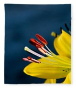 Yellow Lily Stamens Fleece Blanket