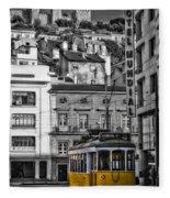 Yellow Lisbon Trolley Fleece Blanket