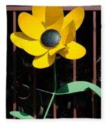 Yellow Metal Garden Flower Fleece Blanket