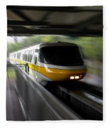 Yellow Monorail Entering The Station 02 Fleece Blanket