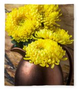Yellow Mums In Copper Vase Fleece Blanket
