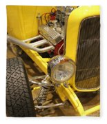 Street Car - Yellow Open Engine Fleece Blanket