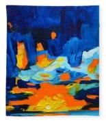 Yellow Orange Blue Sunset Landscape Fleece Blanket