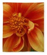 Yellow Orange Dahlia Fleece Blanket