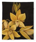 Yellow Orchid Fleece Blanket