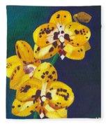 Yellow Orchids Fleece Blanket