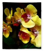 Yellow Orchids Shadow And Light Fleece Blanket
